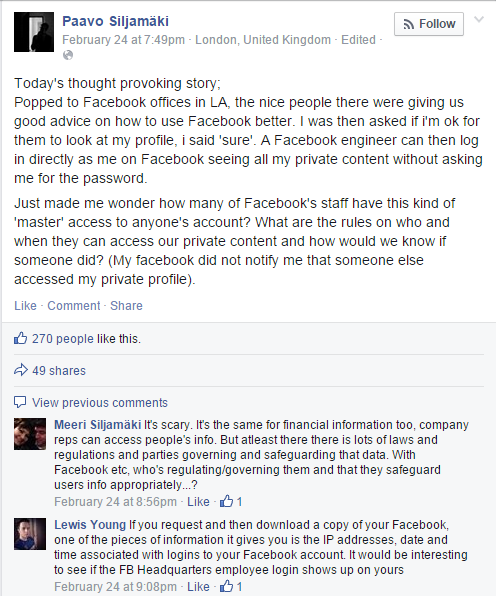Your Facebook account including private data can be viewed by a Facebook employee