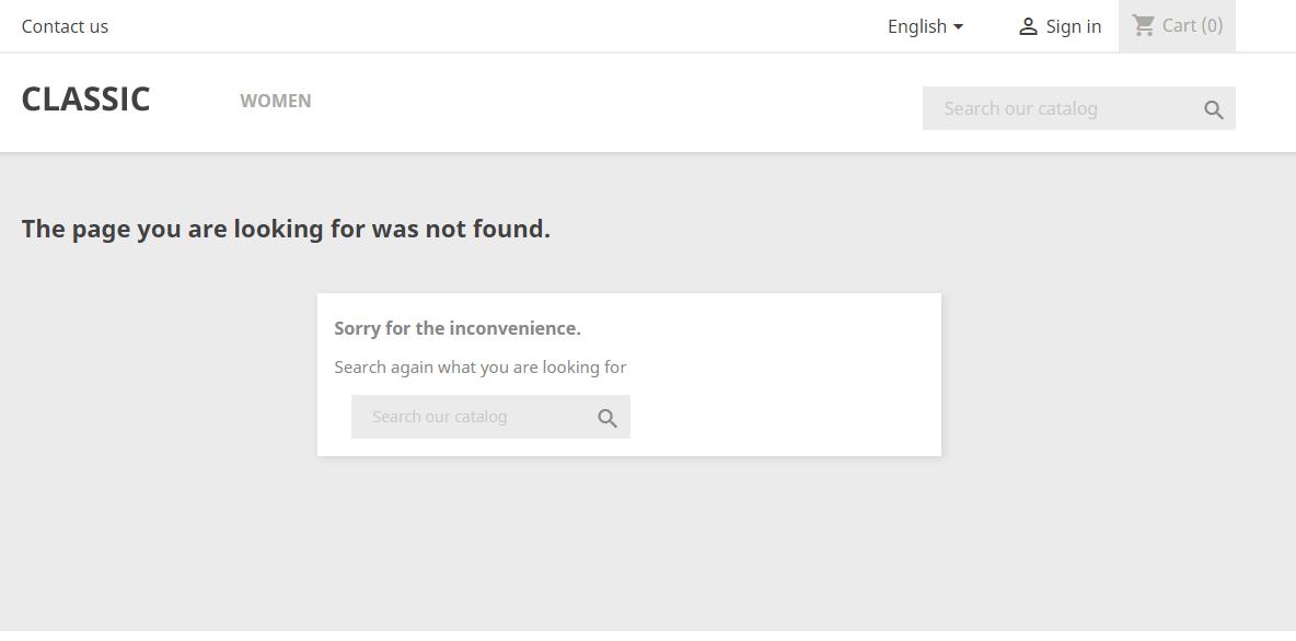 Error 404 Not Found PrestaShop 1.7