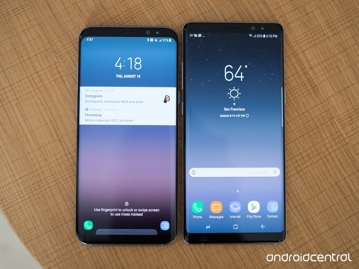 Samsung Galaxy Note 8 and Galaxy S8+